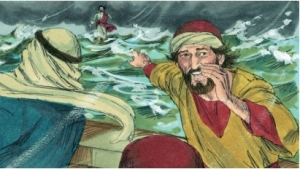 Disciples afraid in storm
