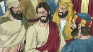 Jesus turns to the woman