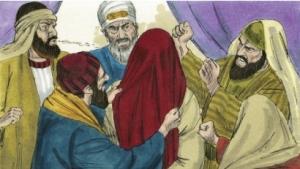 Jesus blindfolded
