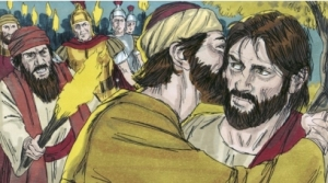 Judas betrays Jesus with a kiss
