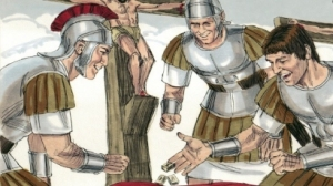 Soldiers gamble for His clothing