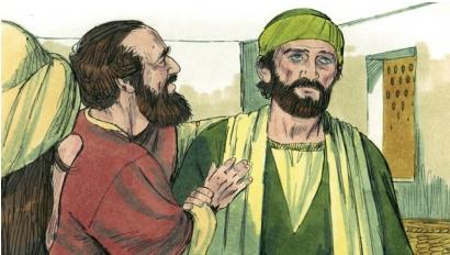 Ananias prays for Saul