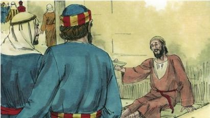 Crippled beggar at the temple