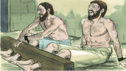 Paul and Silas praise God in prison